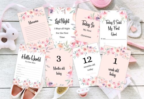 Baby Milestone Cards, Girls, Pink Floral,Pack of 41,300 gsm, Photo prop