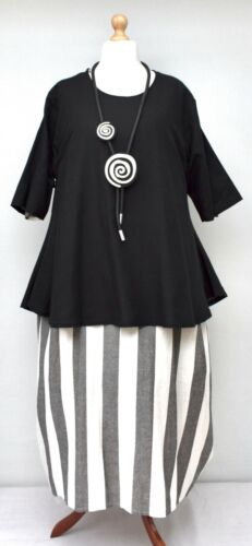 "STUNNING LINEN BLEND A-LINE TUNIC*BLACK*""AKH GERMANY""BUST UP TO 50"" HIGH QUALITY"