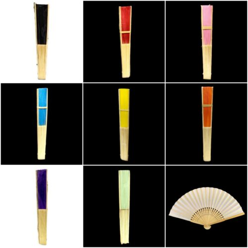 Hand Fan Foldable Bamboo Wooden Paper Chinese Folding Party DIY Plain Colour