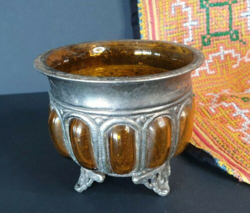 Old Silver & Amber Glass Bowl …beautiful collection & display piece