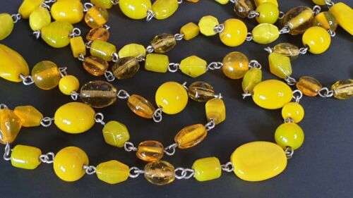 Asian Imported Costume Yellow Beaded Necklace …beautiful collection and accent p