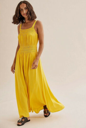 NWT $199 COUNTRY ROAD Gathered Detail Cupro MAXI DRESS 6 8 10 12 14 16 Sunshine