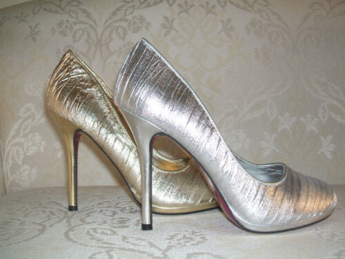 SIZE 3 4 5 6 SILVER GOLD METALLIC BRIDAL WEDDING OCCASION COURT SHOES BNWB