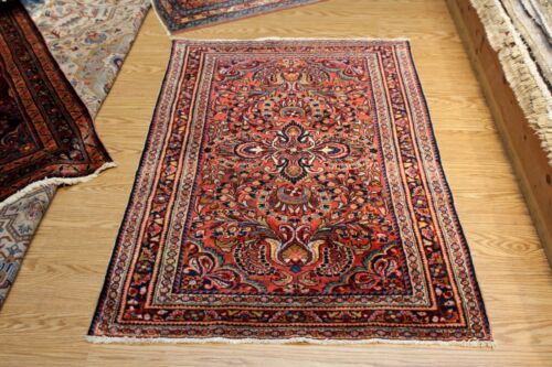 "3'6"" x 5' GENUINE SAROUK Design Lilihan Authentic Early 1900 Handmade WOOL Rug"