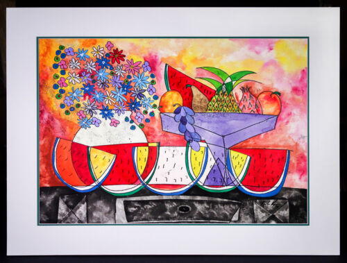 """Original Acrylic Painting Post-Impressionist """"Still Life with Fruit"""" Large Scale"""