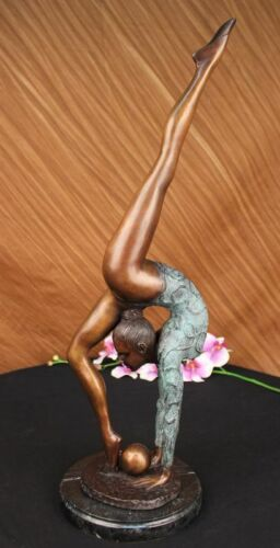 """22.5"""" SIGNED BRONZE STATUE NUDE GYMNAST ART DECO DETAILED SCULPTURE ON MARBLE"""