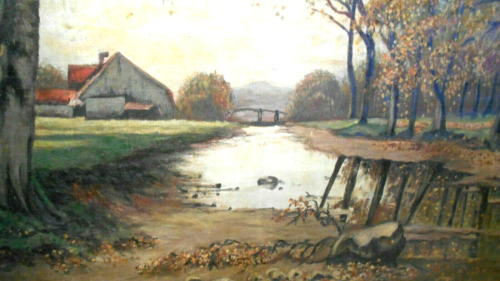 LARGE 3' BY 5' OIL ON CANVAS OF COUNTRY SCENE WITH BARN AND STREAM~SIGNED