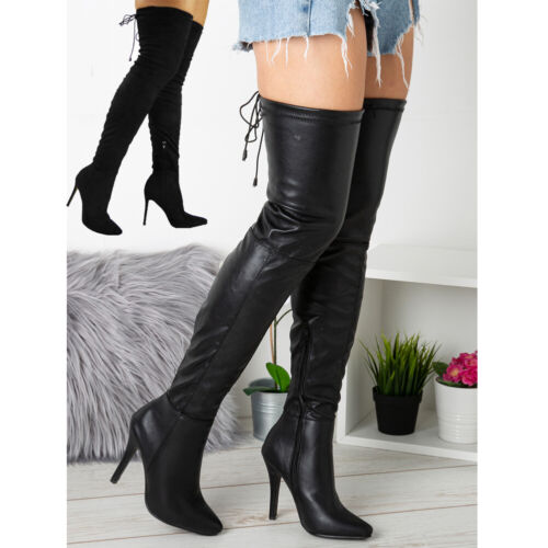 Womens Thigh High Over The Knee Ladies Stiletto Heel Stretchy Boots Shoes Sizes