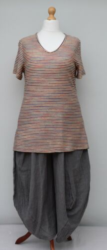 BEAUTIFUL LONG A-LINE STRIPED TOP WITH MULTICOLOURED LUREX THREAD UK Size 12-16