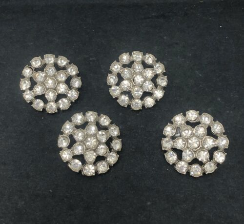 4 Antique Vtg Rhinestone Statement Shank Buttons EXC Condition Matching Set Lot