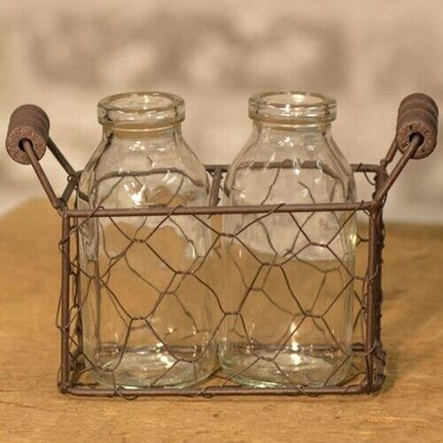 CHICKEN WIRE BASKET TWO BOTTLE RUSTIC  PRIMITIVE COLONIAL AMERICANA SWEET!!