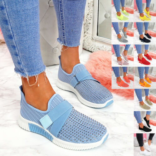 WOMENS LADIES KNIT SLIP ON TRAINERS DIAMANTE STUDS WOMEN PARTY SNEAKERS SHOES