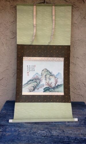JAPANESE SCROLL PAINTING ANTIQUE FINE ART WATERCOLOR WASHI RICE PAPER, SILK MATT