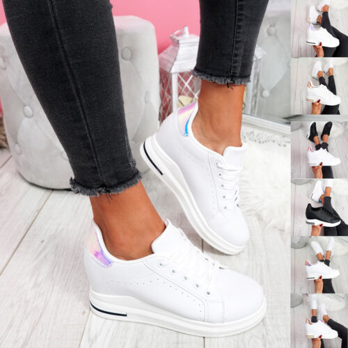 WOMENS LADIES LACE UP WEDGE TRAINERS HEEL SNEAKERS SHINY PARTY WOMEN SHOES