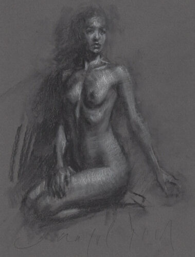 SEATED FEMALE NUDE Figure Study Charcoal Drawing Realism Naked Woman Modern ART