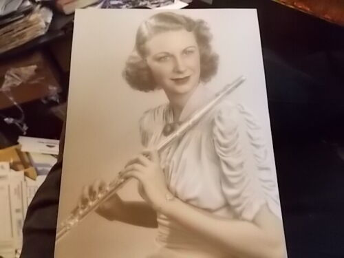 1930'S HAND TINTED PHOTOGRAPH WOMAN W HER SILVER FLUTE, AUSTIN STUDIOS HOLLYWOOD