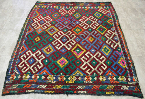 "5x6 Rug. Turkish Kilim Rug Hand Braided Wool Anatolia Antique Area Rug 61"" x 68"""