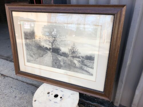 WOW Quartersawn oak picture frame J O Anderson signed print 1891 NYC 38.5/28""