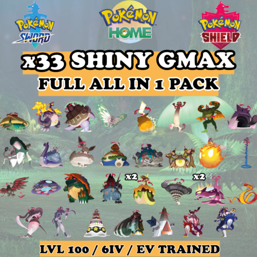 ✨ All 26 GMAX Shiny Pack ✨ Battle Ready 6IV EV Trained Pokemon Sword and Shield