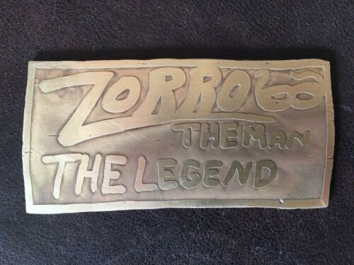 LISTED ARTIST BLACKSMITH ACID ETCHED ZORRO BRASS PLATE PLAQUE SIGNED