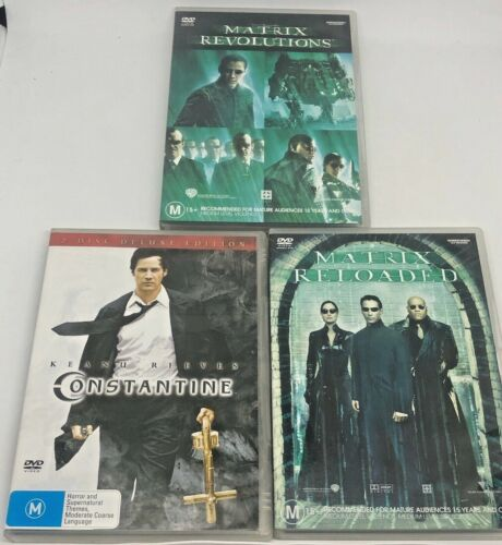 Lot Of 3 Keanu Reeves Movies DVD - Constantine Matrix Reloaded & Revolutions