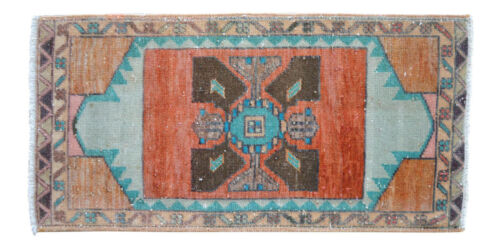 """1'4"""" x 2'7"""" Muted Color Small Area Rug Hand Knotted Turkish Rug Mat 40 x 78 cm"""