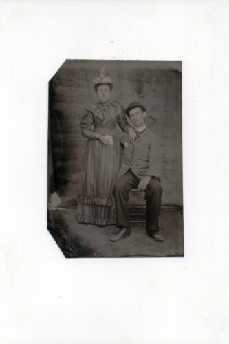 G-086 Couple Man and Woman in Hats early Tintype Photo
