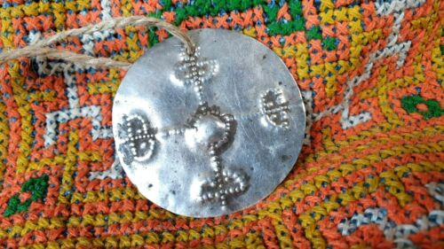 Old Timor Tribal Silver Pendant on Cord  …beautiful collection & accent piece