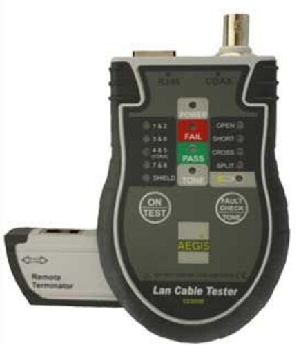 Aegis LAN TESTER AGSCZ20350 Large LCD, For Network, Telephone & Coaxial Cable