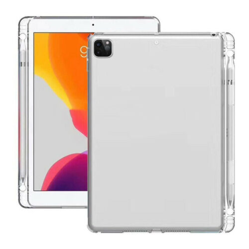 For iPad Pro 11 12.9 inch (2020) Case Ultra Slim Clear TPU Cover W/Pencil Holder