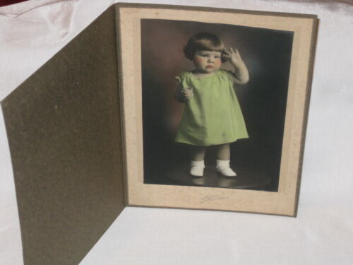 Victorian Young Girl Standing on Table CABINET CARD Colorized PHOTOGRAPH