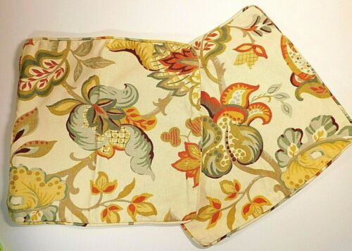 Vintage Upholstery Fabric Pillow Covers Matching Pair Floral Art Nouveau Look