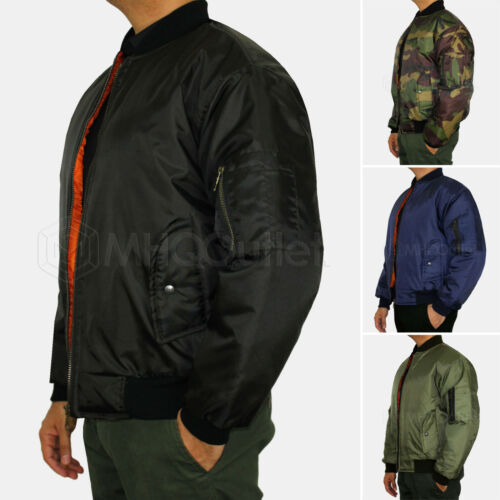 MA1 Jacket Classic Bomber Jacket Military Air Force Style Padded Biker Jacket