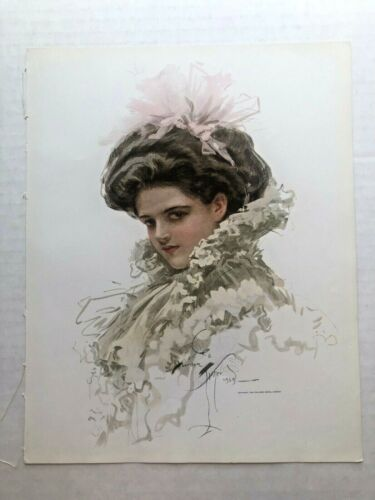 Real Vintage 1909 Harrison Fisher Victorian Woman with Pink Hair Ribbon 9 x 11