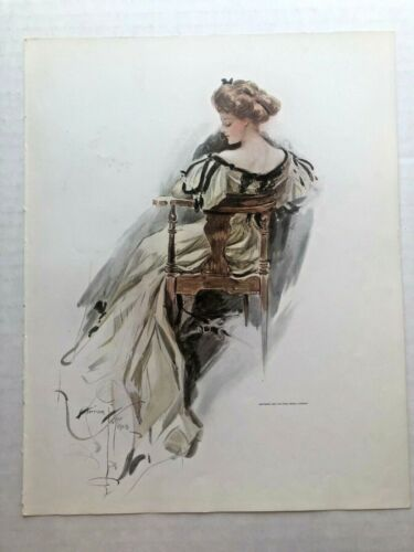Real Vintage 1909 Harrison Fisher Victorian Woman Sitting in Chair 9 x 11