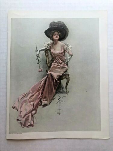 Real Vintage 1909 Harrison Fisher Victorian Woman in Big Hat w/ Rose 9 x 11