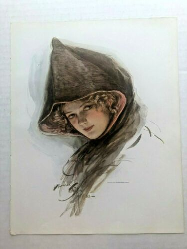Real Vintage 1909 Harrison Fisher Victorian Woman in Cloak Picture 9 x 11