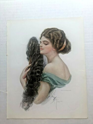 Real Vintage 1909 Harrison Fisher Victorian Woman w/ Hand Fan Picture 9 x 11