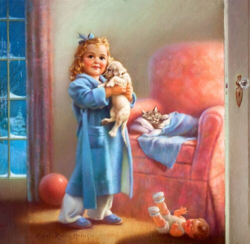 Little Girl in PJs with Puppy and Kitten by Mabel Rollins Harris