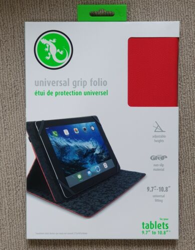 """Gecko Universal Grip Folio for 9.7"""" to 10.8"""" Tablets - Red - AUS Free Shipping"""