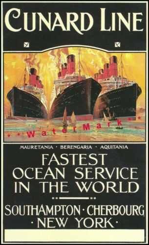 Cunard Ship Line 1910 Fastest Ocean Service Vintage Poster Print Retro Style Art