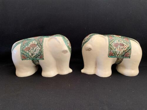 PAIR OF FRENCH ART DECO LACHENAL POTTERY ELEPHANTS
