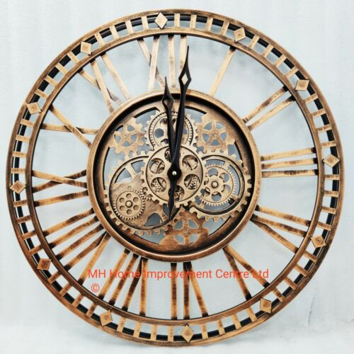 Rustic Copper Brown Large Antique Style Metal Wall Clock  Movings Cogs skeleton