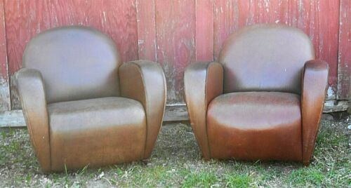 A GREAT PAIR OF OVERSIZE ART DECO LEATHER CLUB CHAIRS