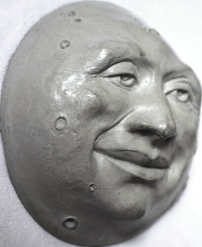 """Collectible 6"""" Wall-Hanging Moon Face Sculpture, Ready to Hang, by Claybraven"""