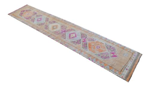 3x14 Rug Runner Kurdish Rug Hand Knotted Low Pile Long Runner Actual 2.8x13.9 ft