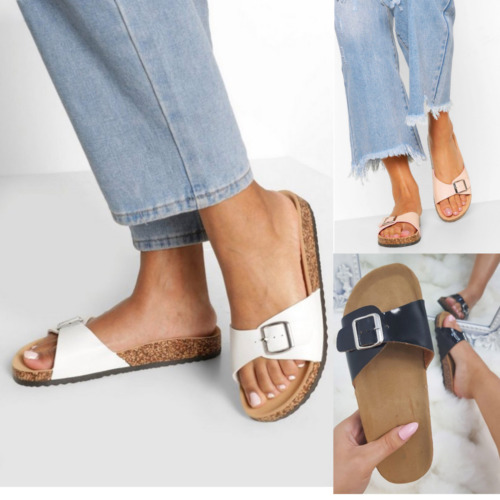 New Womens Ladies Sliders Comfy Leather Slides Summer Sandals Mules Slipper Size