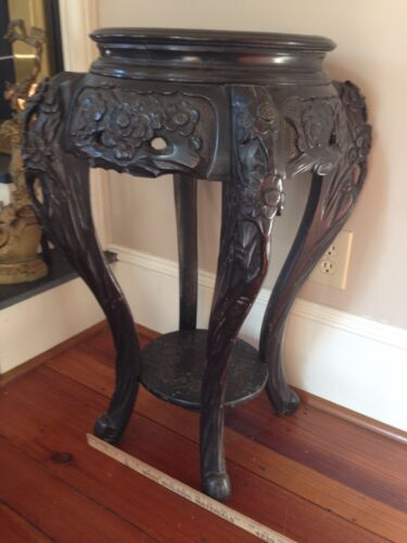 Antique Carved Chinese Plant Stand Asian End Table