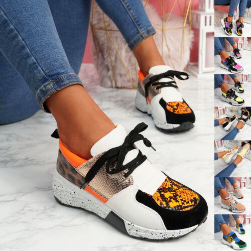 WOMENS LADIES LACE UP ANIMAL PRINT CHUNKY SNEAKERS PARTY TRAINERS WOMEN SHOES