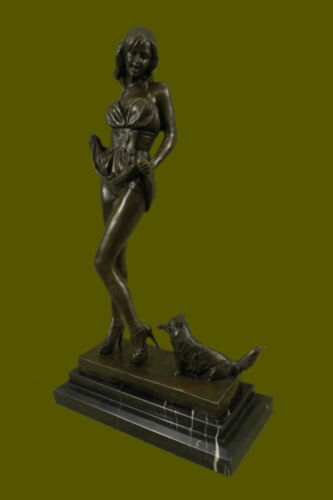 Signed Catwoman Cat Woman Bronze Sculpture Marble Base Figurine Home Decor Fift